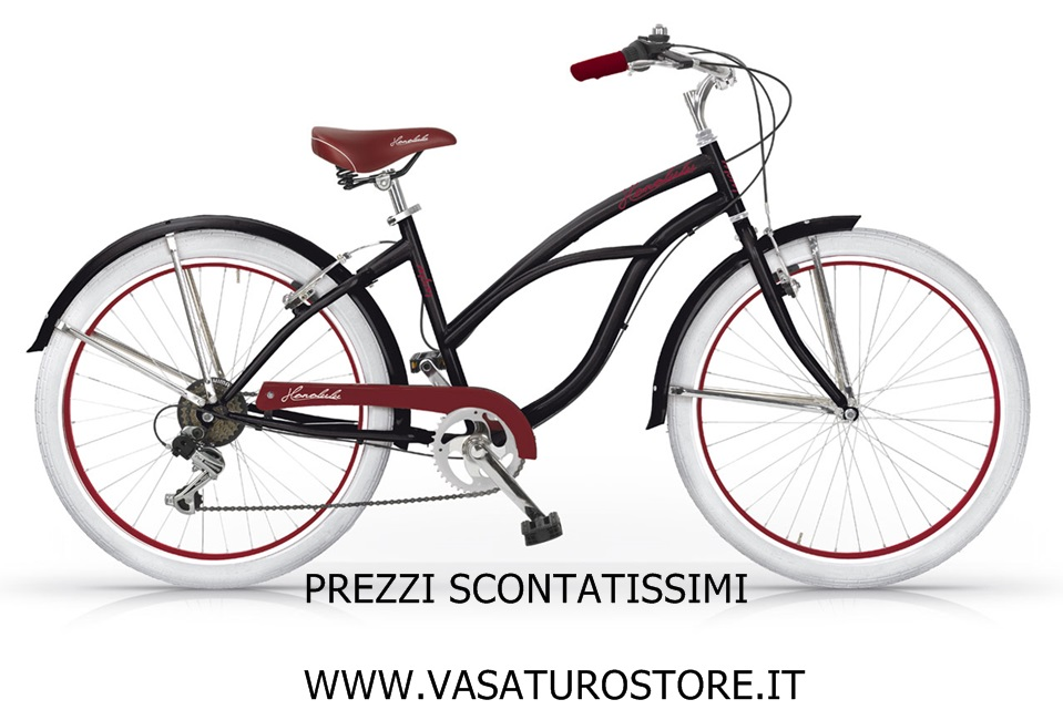 Bicicletta Cruiser Donna Honolulu Mbm 26 Nero Bici City Bike Ciclo Cambio Shimano